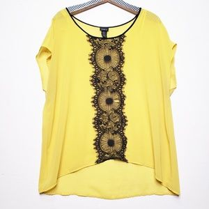 Torrid Sheer Yellow Blouse with Lace Detail